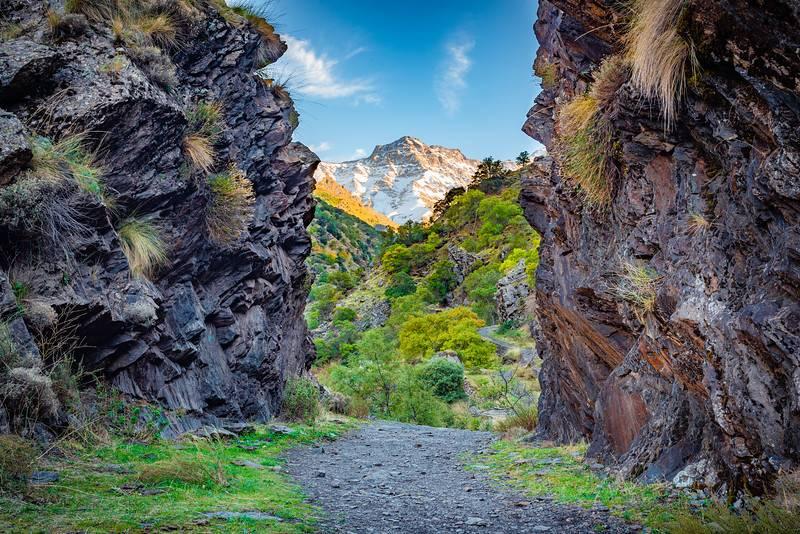 Vue magnifique depuis le sentier de randonnée Vereda de la Estrella dans le parc naturel de la Sierra Nevada.