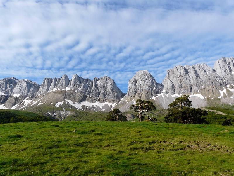 Vue générale du paysage des Pyrénées espagnoles. Montagnes d'Alanos. Zuriza, Pyrénées aragonaises. Vallée d'Ansó